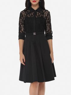 Lace Patchwork Plain Alluring Lapel Skater-dress