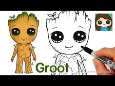 How To Draw Baby Groot | Guardians of the Galaxy - YouTube