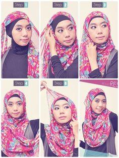 Tutorial Hijab Praktis Pashmina Siffon | http://FemaleZone.info-Hijab Tutorials