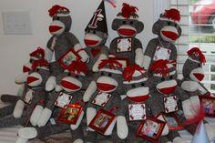 Giant sock monkeys enjoying a party!