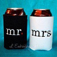 Mr. & Mrs. Embroidered Koozies @ www.lembroideryanddesign.com