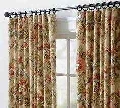 Jacobean Floral Lined Grommet Top Curtains Curtains