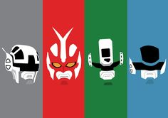 A minimalist version of the characters from Cybercops, a Tokusatsu show exhibited in a brazilian TV channel known as Rede Manchete on early 90's.