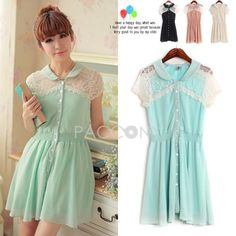 Summer New Arrivals Lace Shoulder Single-Breasted Chiffon Dresses