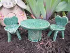 FAIRY TABLE  CHAIRS Set Teal Green Stoneware Pottery
