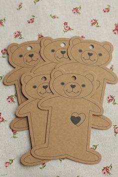 ECO Brown Kraft Goods - Hard Craft Paper Board Thread Spool Little Bear - 5p