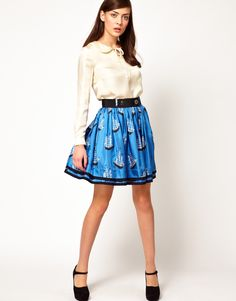 Orla Kiely Full Skirt in Around The World Print Silk Twill
