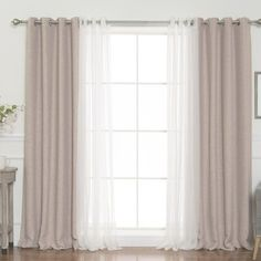 Darby Home Co Almanzar Slub Solid Blackout Thermal Grommet Curtain Panels - カーテン ファブリック - Living Room Decor Curtains, Home Curtains, Grommet Curtains, Panel Curtains, Bedroom Decor, Curtain Panels, Double Curtains, Curtain Ideas For Living Room, Decorative Curtains