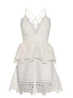SELF-PORTRAIT Lace-peplum open-back dress