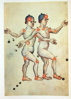 Constellation of Gemini:: Liber locis stellarum fixarum - Abd ar-Rahman as-Sufi… Moon Sign Calendar, Draco, Constellations, Gemini, Celestial Map, Famous Books, Moon Signs, Constellation Tattoos, Illustrations