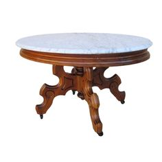Antique Victorian Marble Top Coffee Table Furniture