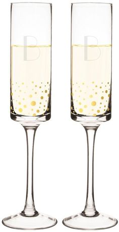 Monogram Gold Dot Champagne Glasses Flute Drink-ware Tabletop Decor ( Set of Tiger Lily Wedding, Head Table Decor, Gold Dots, Champagne Glasses, Sparkling Wine, Glass Design, Drinkware, Party Supplies, Wine Glass