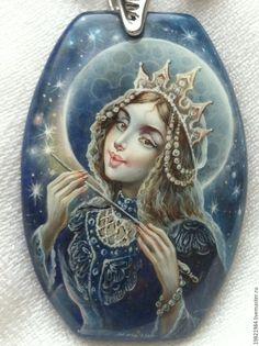 Купить Ночь-волшебница,Ночь- колдунья... - тёмно-синий, ночь, лаковая миниатюра, живопись маслом