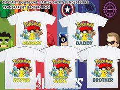 e2c8edbe Family Bundle Pokemon T-Shirt Design - Pokemon Iron On Transfer - Birthday  BOY/GIRL - Mom - Dad - Brother - Sister - Instant Download!