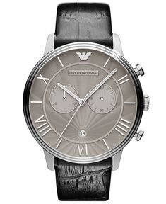 Emporio Armani Watch, Mens Chronograph Black Croco Leather Strap 46mm AR1615 - Mens Watches - Jewelry & Watches - Macys