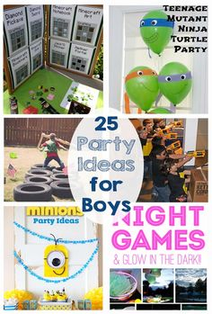 25 Party Ideas for Boys - Superhero, dinosaur, star wars, minecraft, pirates, laser tag, lego, night games, minions, rockets, army, sports, ninja... this post has so many ideas for birthday parties!