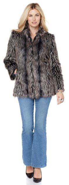 You'll be looking glam anywhere that you go in this Adrienne Landau fur coat! There's two fur designs to choose from! Which of the two color combos are you loving? How would you style this coat now for the cooler weather?
