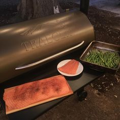 Next up on the @traegergrills is cedar plank salmon seasoned with @four41south Honeysuckle dust and a little Fat Henry to spice it up. The middle piece is for the dogs as they like fish A LOT. Asparagus on the grill will round this out. Might try to cook a sweet potato too. #traegergrills #traeger #sundayfunday Reposted Via @4g_hauler
