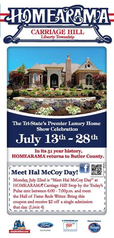 Reds Fans---Meet Hal McCoy at HOMEARAMA