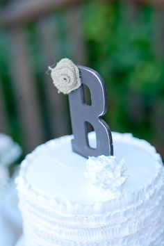 Items similar to Rustic wedding cake topper, Burlap and lace wedding, Monogram cake topper, Vintage rustic decor on Etsy Winter Wedding Favors, Rustic Wedding Cake Toppers, Wedding Cake Rustic, Wedding Favors Cheap, Wedding Cakes, Wedding Ideas, Lace Wedding, Trendy Wedding, Wedding Stuff