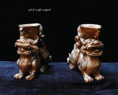 Pair Jade Stone Carved Mythical Cup Display Figures - Golden Lotus Antiques