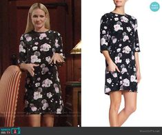 Sharon's black floral shift dress on The Young and the Restless. Outfit Details: https://wornontv.net/94390/ #TheYoungandtheRestless