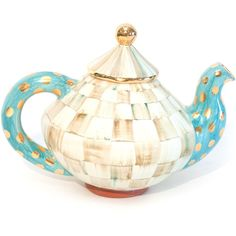 MacKenzie-Childs Parchment Check Teapot ($395) ❤ liked on Polyvore featuring home, kitchen & dining, teapots, mackenzie child tea pot and mackenzie childs teapot