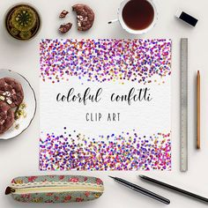 Colorful Confetti Clipart -  http://etsy.me/2eVzdEV 9 digital PNG confetti borders with transparent backgrounds.