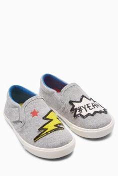05e4db24973 Buy Grey Badge Slip-On Shoes (Younger Boys) from the Next UK online shop