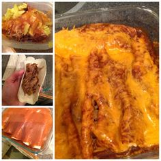 Brisket Enchiladas...totally making this tonight with the leftover brisket :-).  YUMMY!