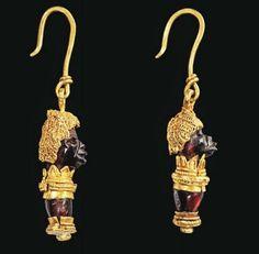 Greek Gold African Head Earrings, 3rd-2nd Century BCE
