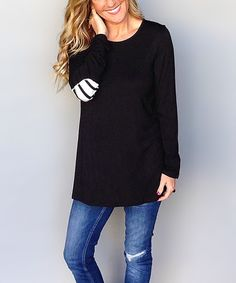 Definitely a cute shirt. Love the elbow patches and especially love the length!