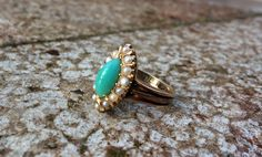 Victorian 18 Kt gold turquoise and pearl ring. by ArtJewelsStore on Etsy