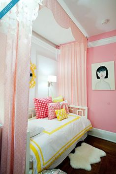 kids' bed canopy idea from Dwellers Without Decorators: 9 Inspirational Bedroom Makeovers