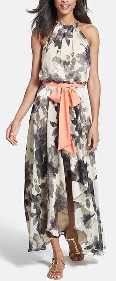 Floral print chiffon dress by Eliza J