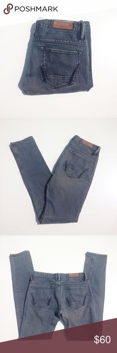 ALL SAINTS straight jeans. Size 27 Comfy and flattering. Size 27. Length 32. Waist laying down 15. Rise appx 8. There is a hole by the waist but it's hardly noticeable 99% of the time I ship the next day. Please feel free to ask me any questions. I am here to help. :) All Saints Jeans