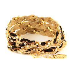 Leopard Animal Print Rhinestone Braided Wrap Bracelet
