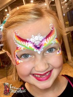 Easy Face Painting Designs, Rainbow Face Paint, Princess Face Painting, Henna Paint, Face Art, Face And Body, Painting Inspiration, Cute Kids, Body Art