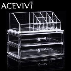 2016 New Freeship in USAcrylic Jewelry Makeup Cosmetics Organizer Drawers Tabletop Display Storage Box Clear New