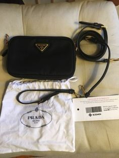 Details about Prada Black Tessuto Nylon Crossbody Bag 414badbd7e