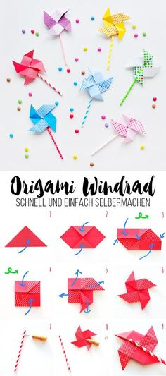 Süßes Origami Windrad – schnell und einfach selbermachen Sweet origami pinwheel – quick and easy to make yourself Design Origami, Instruções Origami, Cute Origami, Origami Star Box, Origami Dragon, Origami Fish, Origami Stars, Origami Folding, Paper Folding