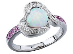 Heart Shaped Lab Created Opal Ring in Rhodium Plated Sterling Silver Diamond and Created Pink Sapphires ** Be sure to check out this awesome product.Note:It is affiliate link to Amazon.