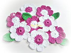 Crochet Flowers ref X178 by mariamanuel on Etsy, $6.80