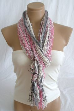 Fringe Scarf Knotted Scarf Harmony of Pink, White and Gray $19.90
