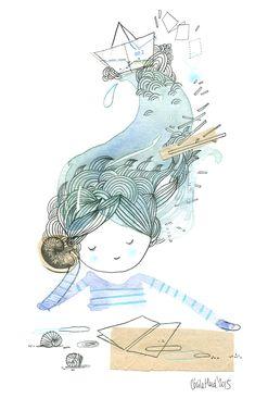 flow doll, aquarelle, Cécile Hudrisier
