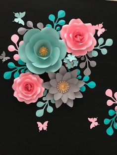 Giant Paper Flower Backdrop, Pink Mint Gold Paper Flowers Nursery, Paper Flower Wall, Pink Gold Baby - New Deko Sites Paper Flowers Craft, Large Paper Flowers, Paper Flowers Wedding, Paper Flower Wall, Paper Flower Backdrop, Paper Roses, Flower Crafts, Quilling Flowers, Paper Quilling