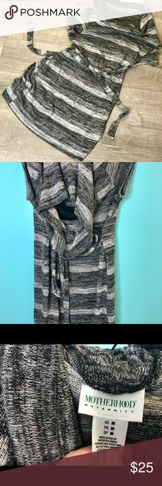 Motherhood Maternity Black & White Cowl Neck Tunic This is a very comfy and flattering maternity sweater that is Tunic length.  Just the right amount of structure and stretch.   Features a belt and a black built-in cami. Motherhood Maternity Tops Tunics
