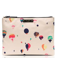 Kate Spade Get Carried Away Gia Pouch Kate Spade zip pouch; 100% cotton with cow leather trim; adorable hot air balloon print all over kate spade Bags Clutches & Wristlets