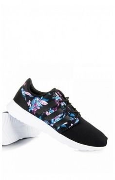 sports shoes da9b4 0529d Basket femme, Basse, Model CLOUDFOAM QT RACER W noir fleuri Adidas 78317