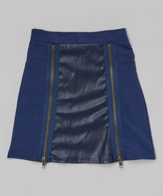 Look at this Navy Faux Leather Zipper Skirt - Toddler